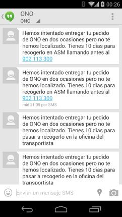 SMS de ONO